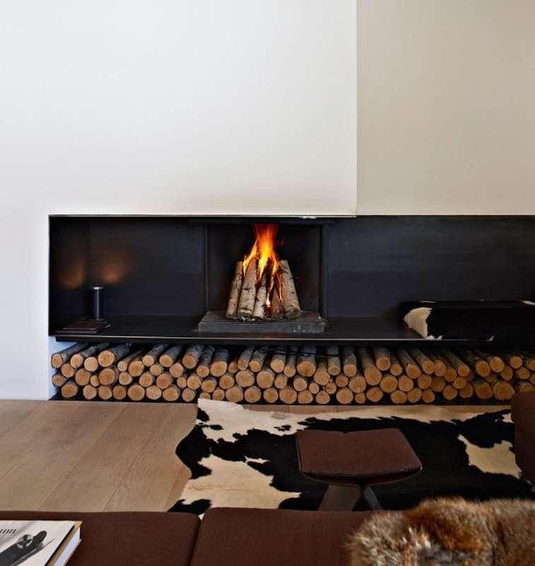Camino a legna di design nel vostro salotto for Camino a legna moderno