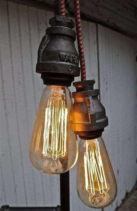 lampadari stile industriale da parete : Ecco un?altra idea per creare un lampadario stile industriale con ...