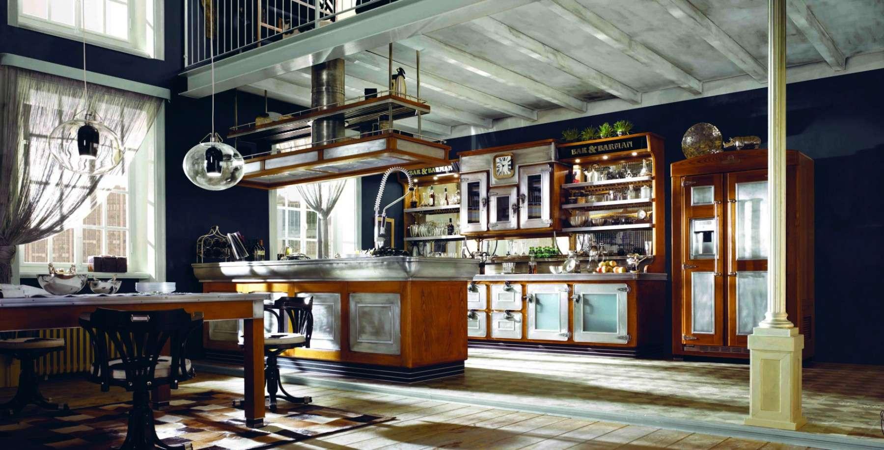 Marchi cucine la cucina bar barman in stile industriale for Salotto stile industriale