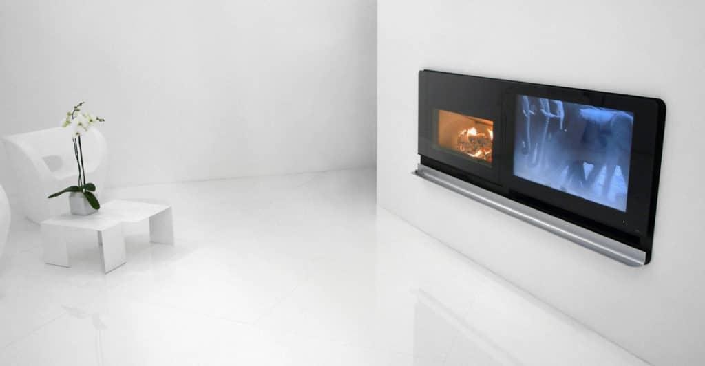 Caminetto elettrico e mobile porta tv fuji bianco mobile in