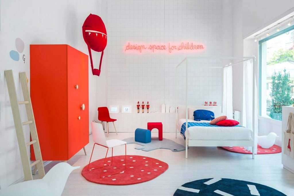 Bianco, Rosso e Blu per le camerette per bambini Nidi