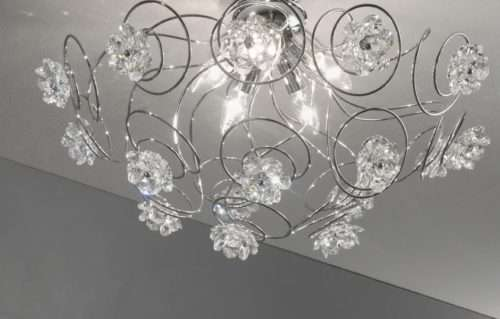 lampadari soggiorno moderni in vetro e cristalli