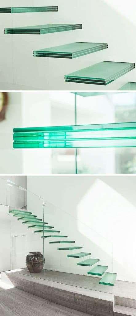 scale moderne per interni completamente in vetro