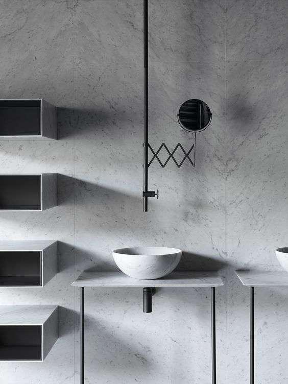 bagni in marmo in stile minimalista