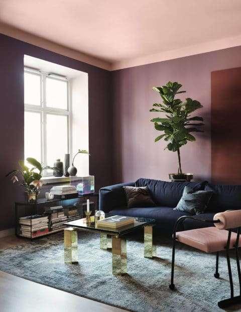 colori pareti soggiorno viola