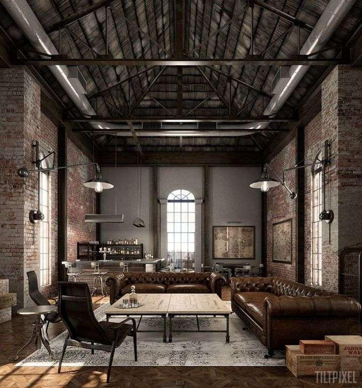 divano stile industriale chesterfield