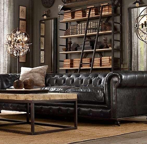 divano stile industriale nero
