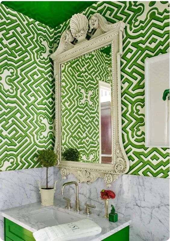 carta da parati per bagno verde