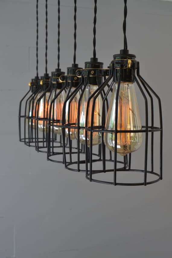 modulo di lampadario da cucina stile industriale