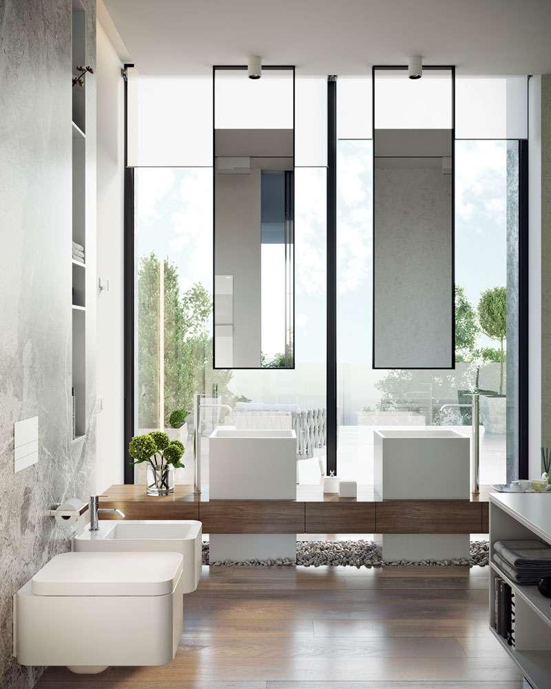 specchio per bagno doppio appeso al soffitto