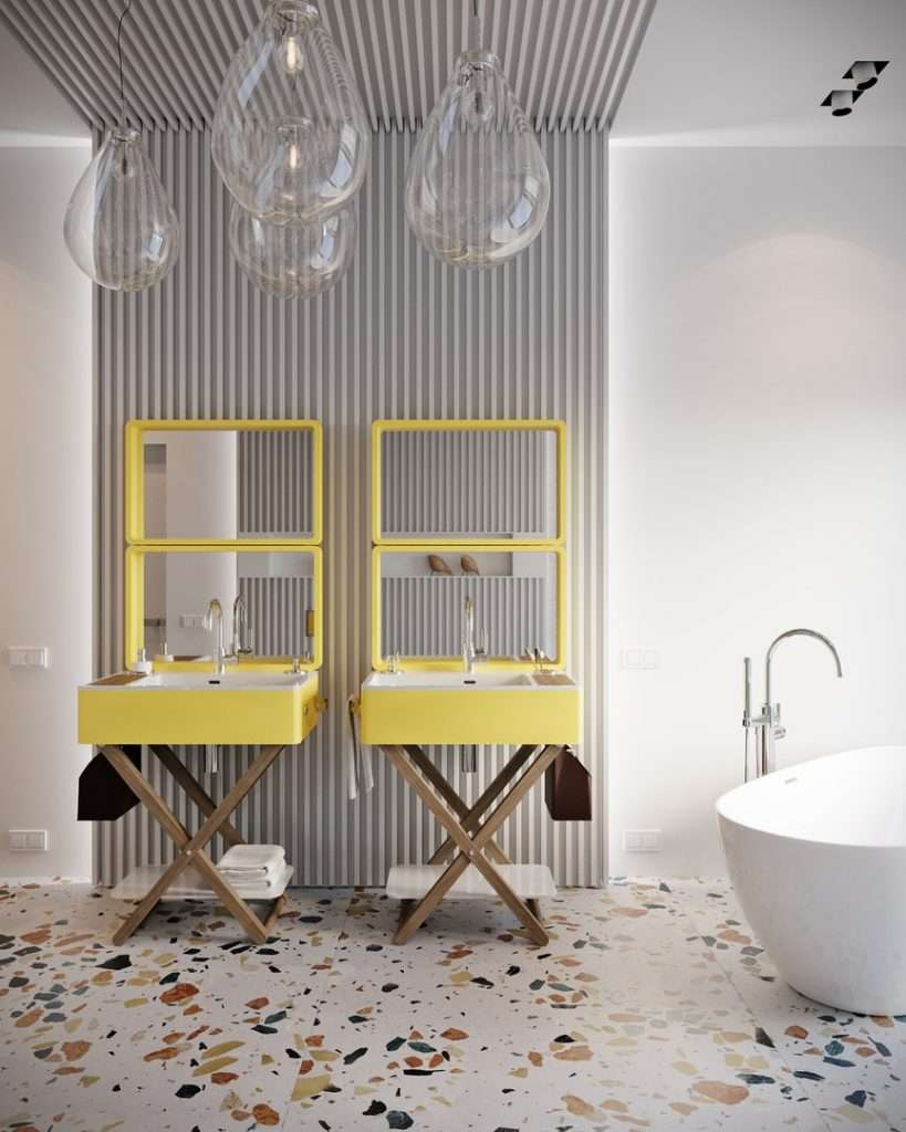 specchio per bagno doppio con cornice colorata