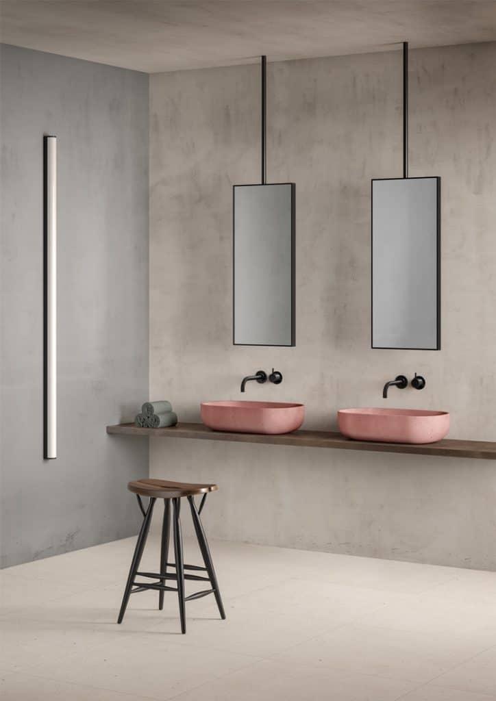 specchio per bagno doppio minimalista
