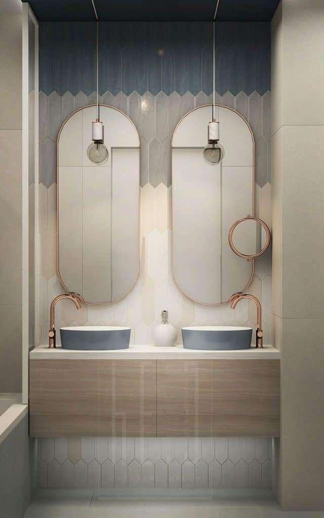 specchio per bagno doppio ovale