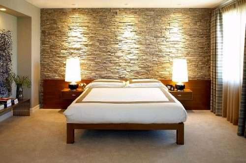 pareti in pietra camera da letto chiara