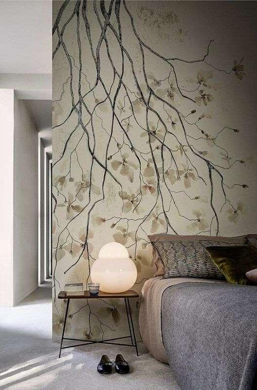 carta da parati per la camera da letto con alberi e rami