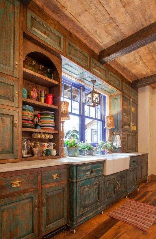 cucine provenzali verdi effetto invecchiato