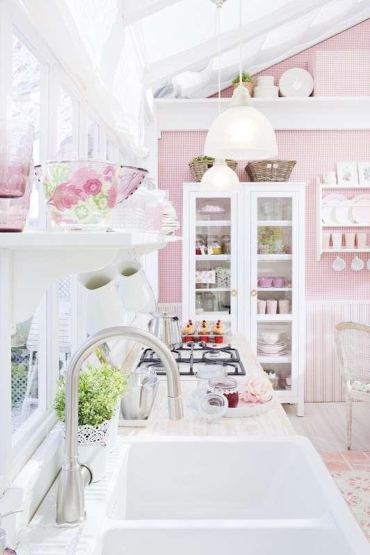 cucine shabby chic rosa