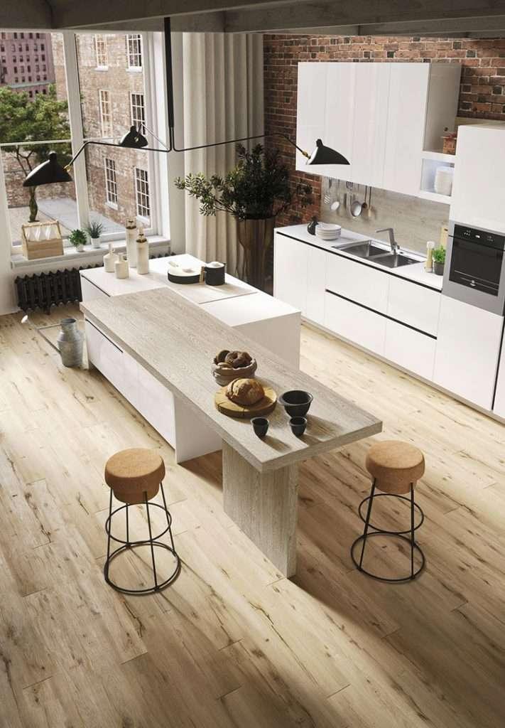 cucine con isola in legno