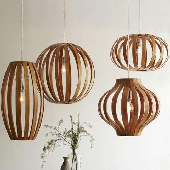 lampadari di legno a fascette