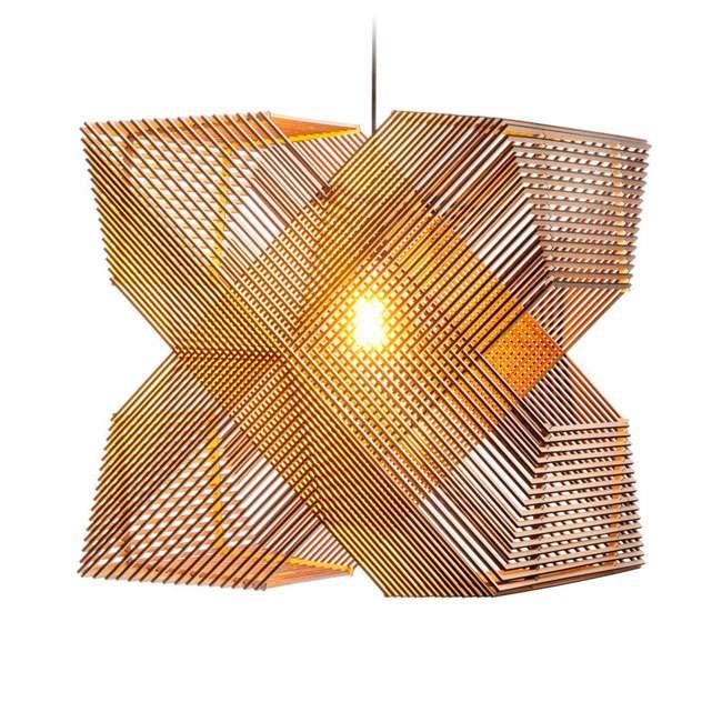 lampadari di legno con taglio laser