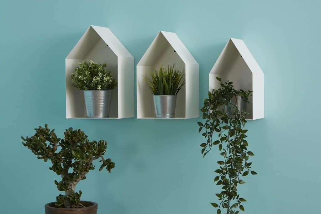 Set di tre mensole di design in metallo bianco