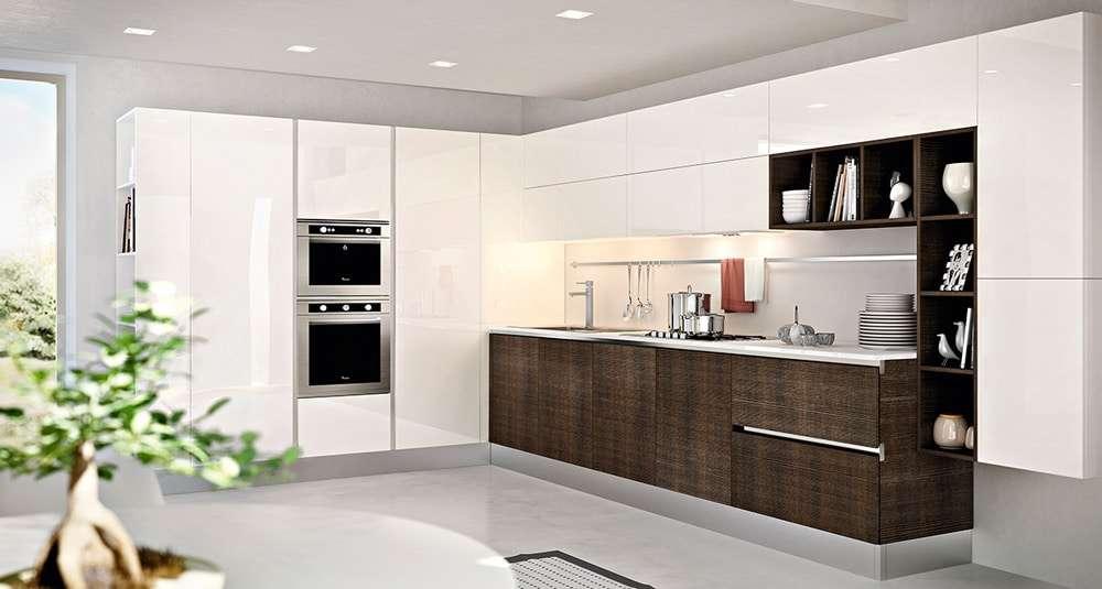 cucina ad angolo bicolore