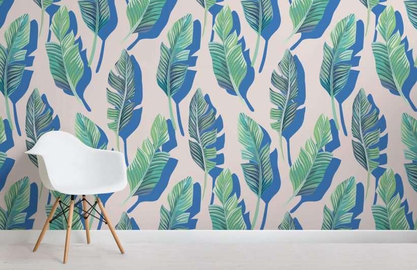carta da parati foglie tropicali 3d