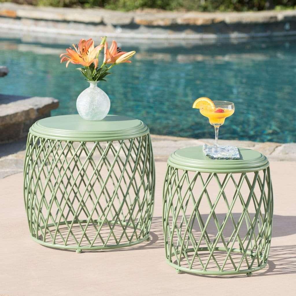 tavolini in ferro da giardino verde